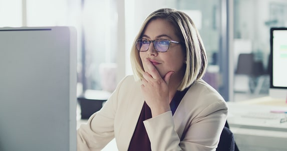 Woman working on computer in Google Docs